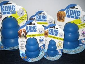 Our new vet-grade blue kongs which are stronger and show up on x-rays